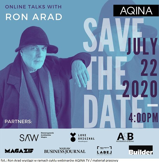 Ron Arad w Polsce – 22 lipca wystąpi w ramach cyklu webinarów AQINA TV
