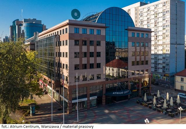 Biurowiec Atrium Centrum w Warszawie z certyfikatem BREEAM In-Use na pozaiomie Very Good