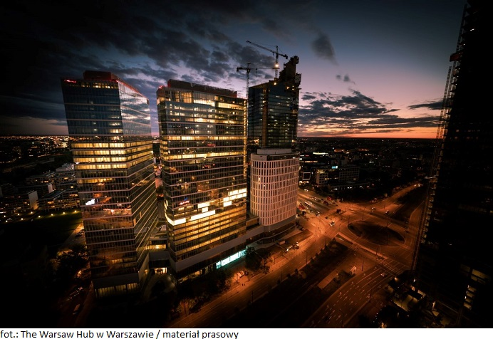 The Warsaw HUB by night