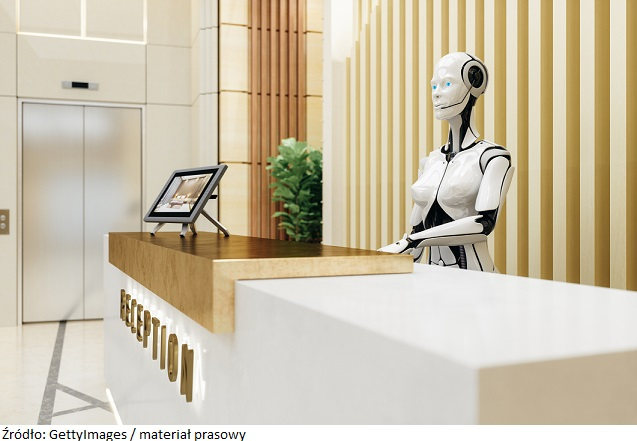 Robot assistant on modern hotel / office reception.